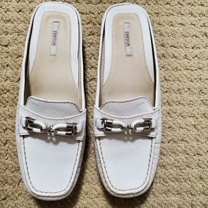 Geox white leather loafers.